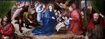 The Adoration of the Shepherds, a tempera on canvas oil painting by Flemish artist Hugo van der Goes, circa 1480