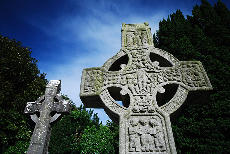 Two old Celtic crosses in Ireland